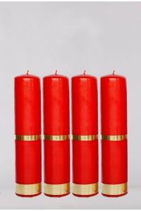 Zestaw 4 świec czerwonych, duże [A3]