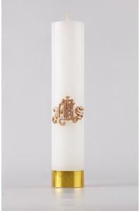 Komunia - świeca ołtarzowa JHS, średnia [K8]