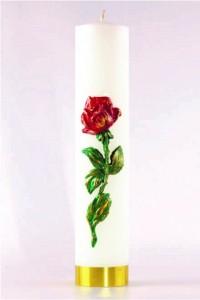 Świeca ołtarzowa - Róża czerwona, duża [O-9]